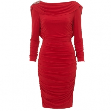 Rhea Cowl Neck Dress in Red