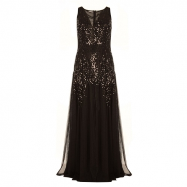 Sleeveless Sequin Mesh and Chiffon Long Dress in Black