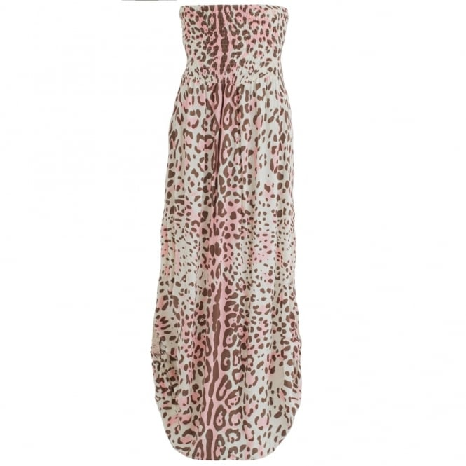 BETH & TRACIE Emily Maxi Dress Leopard Print In Pink & Brown