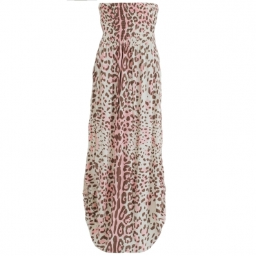 Emily Maxi Dress Leopard Print In Pink & Brown