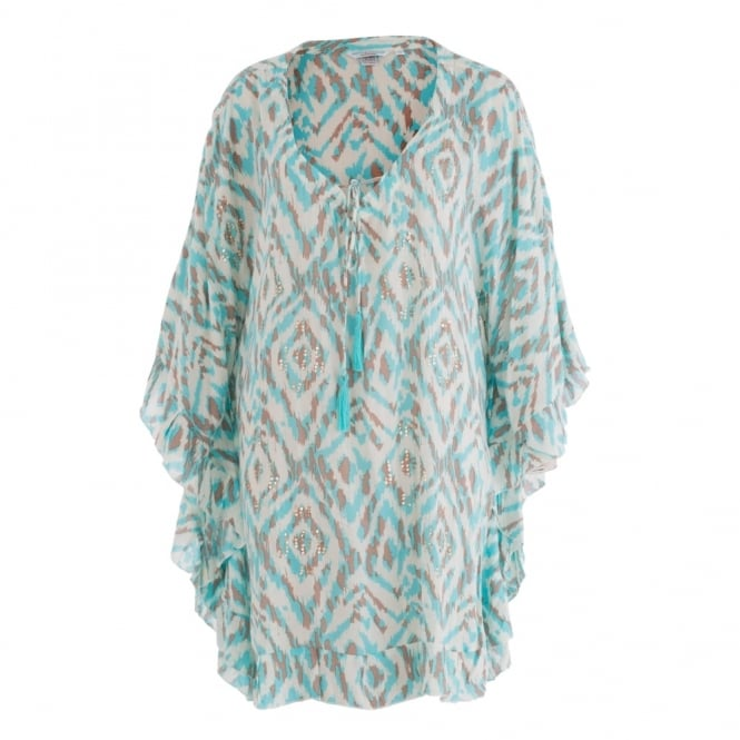 BETH & TRACIE Ikat Print Lexi Tunic Kaftan In Turquoise & Beige