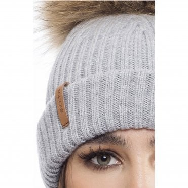 1477e482a8b Bklyn Knitted Bobble Hat With Natural Fur Pompom Light Grey