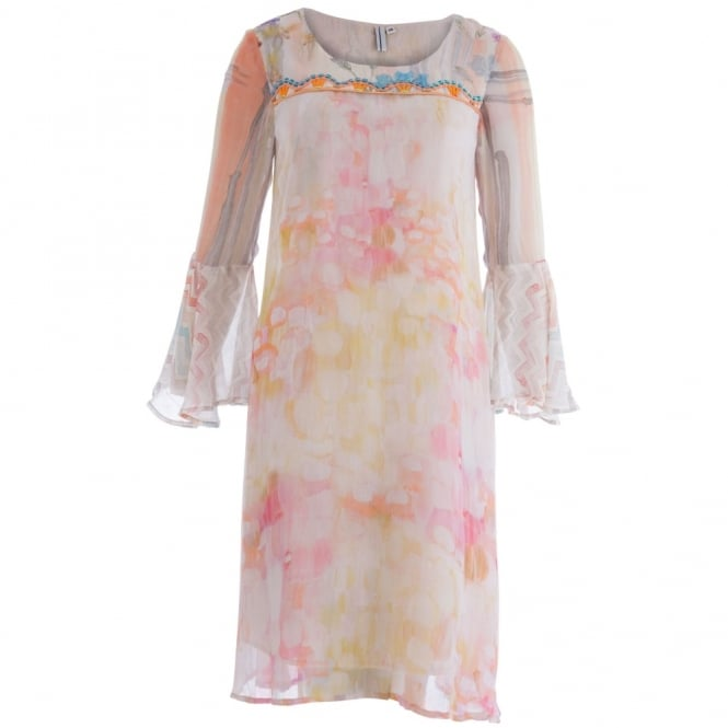 BL^NK Mitre Bell Sleeve A-line Dress with Embroidered Scoop Neckline in Floral Wash Rose