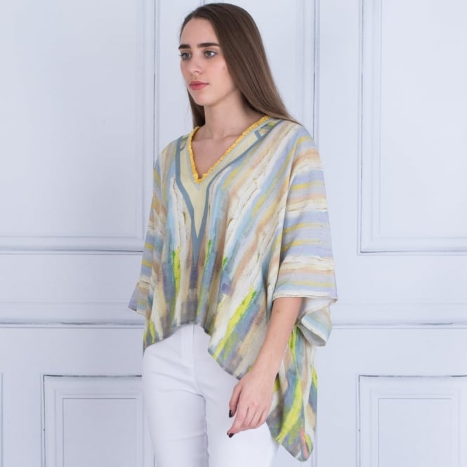 BL^NK Poncho Blouse With V Neck In Blue & Citrus