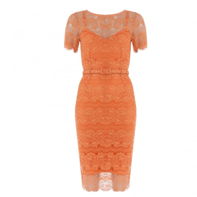 BODY FROCK Lace Belted Dress With Short Sleeves in Orange