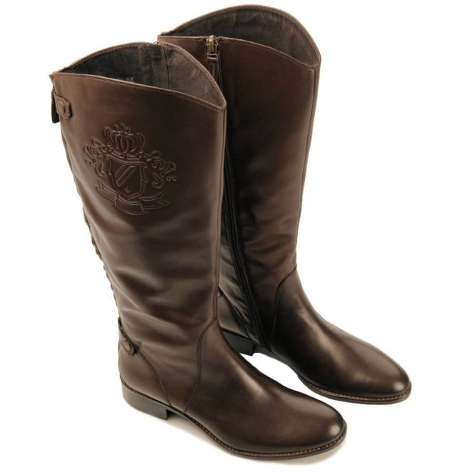 BRUNO PREMI Side Stamped Leather Boot in Dark Brown