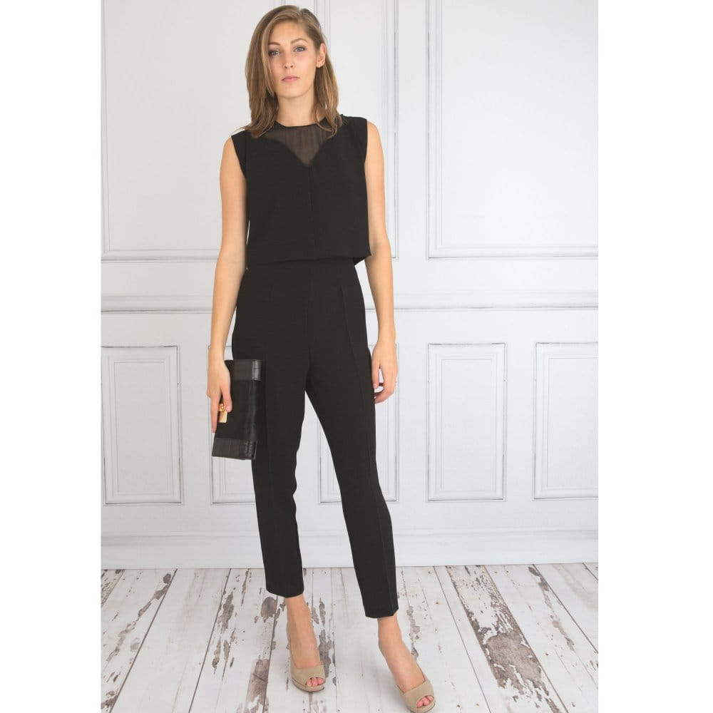 1642aaf5a6b5 Caractere Tailored Crepe Sleeveless Mesh Detail Jumpsuit in Black