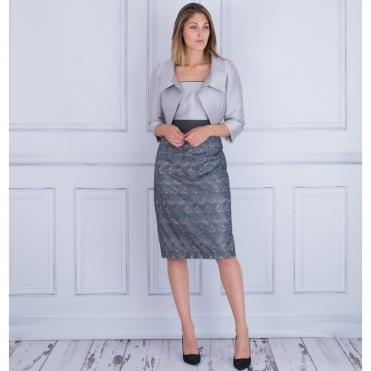 Dress and Bolero With Overlayed Lace Skirt in Charcoal and Silver