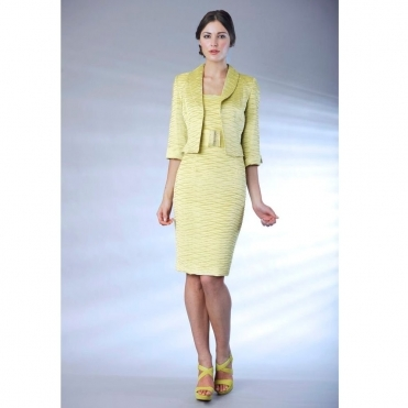 Pleated Dress and Jacket in Lime and Lemon