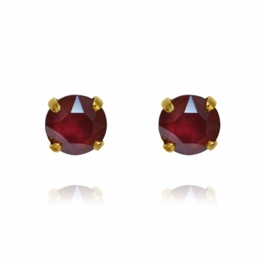 Classic Stud Earring In Dark Red