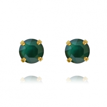 Classic Stud Earring In Royal Green