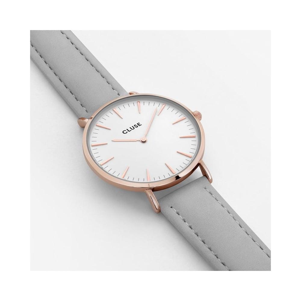 Cluse CL18015 La Boheme Rose Gold Grey Leather Watch e011b53edb