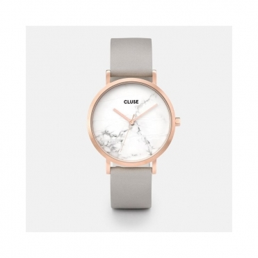 La Roche Rose Gold Grey Leather And Marble Watch