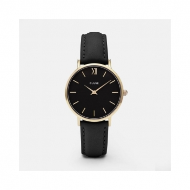 Minuit Gold And Black Leather Watch