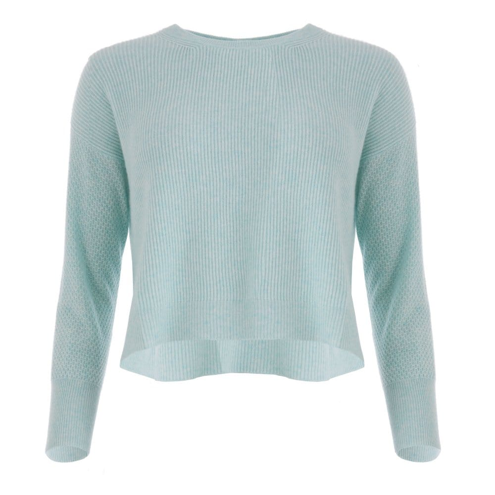 0d8cb3a820 Cocoa Cashmere Cropped Jumper with Stitch Detail in Mint