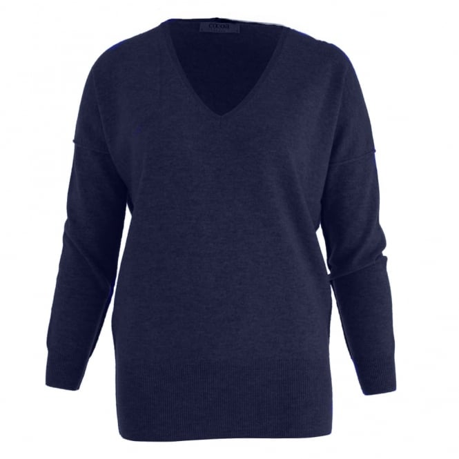 COCOA CASHMERE Deep V Neck Cashmere Jumper In Navy