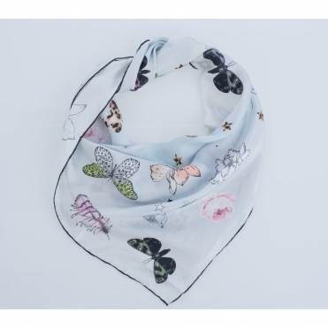 Flower And Butterfly Print Silk Scarf In Silver Grey