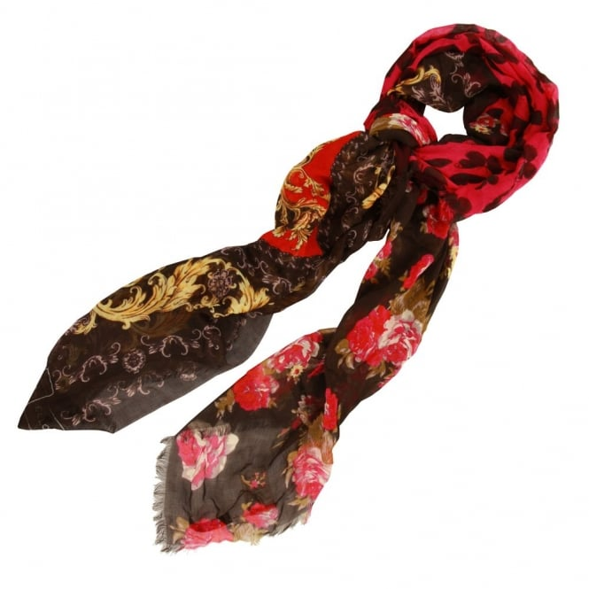 CODELLO Paisley Floral Scarf in Pink and Black