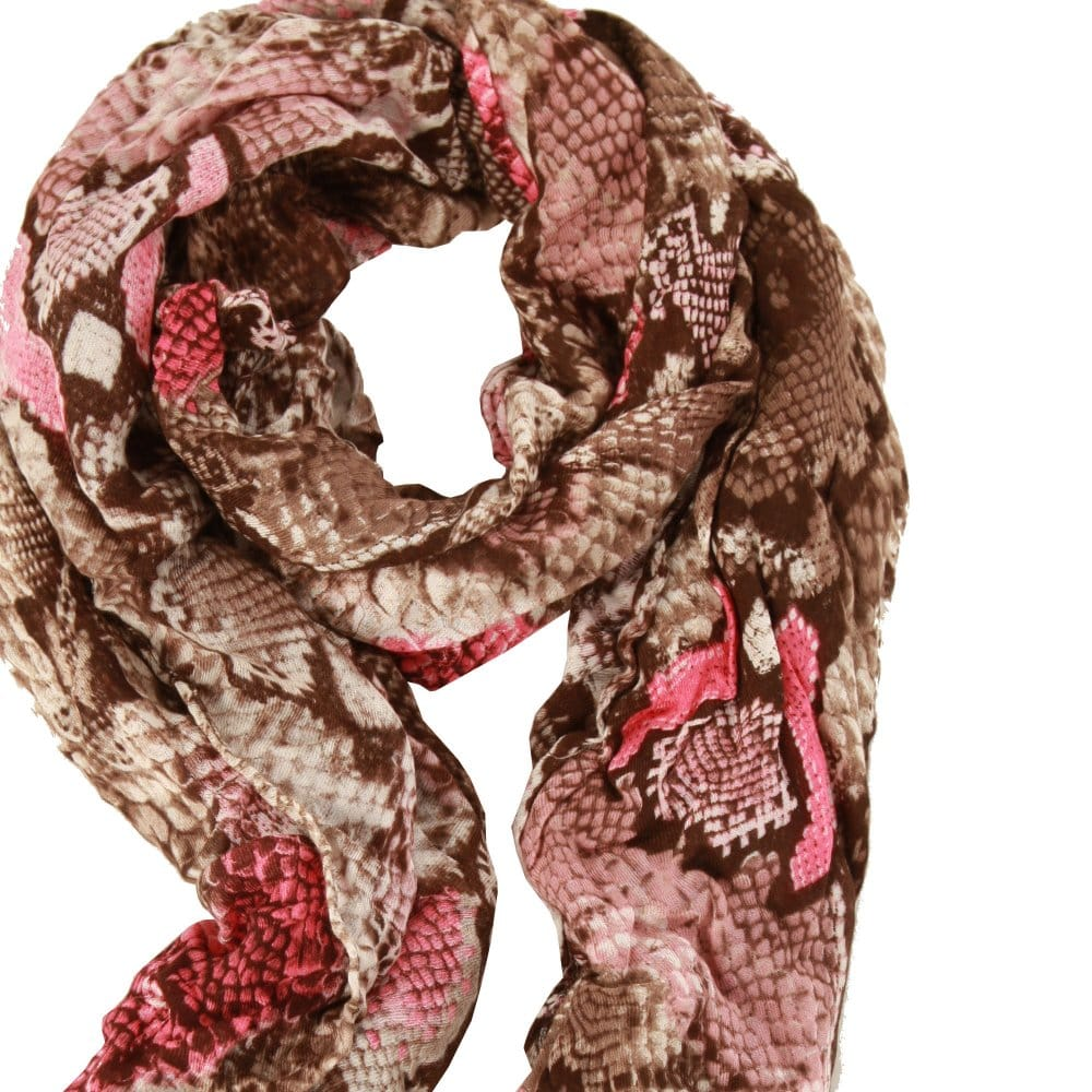 b00f2c78c0c7cf Codello Snake Print Scarf in Brown and Pink