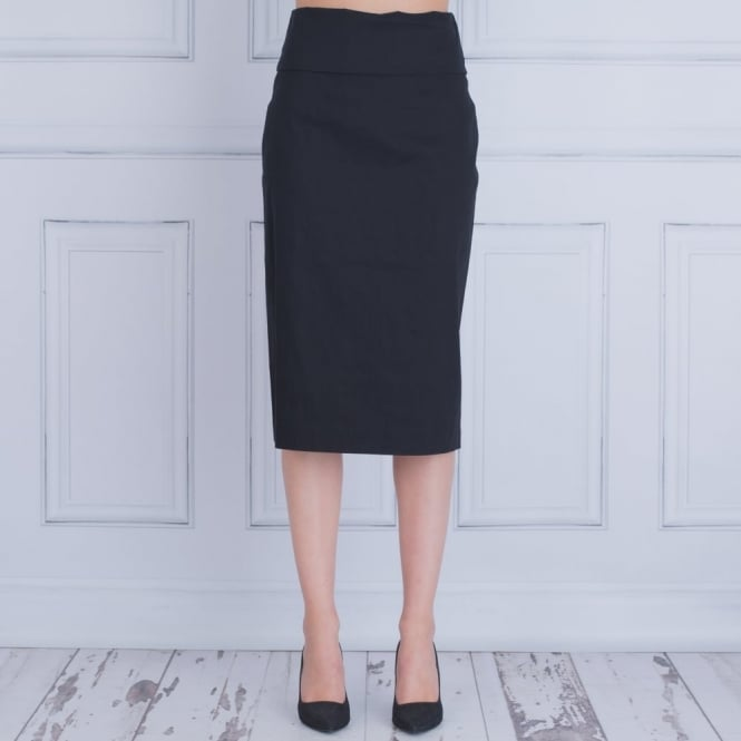 CREA CONCEPT Fitted Stretch Skirt With Turn Over Waistband In Black