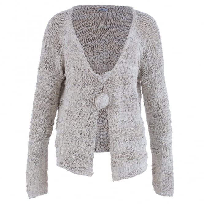 CREA CONCEPT Knitted Cardigan With Ball Pin Detail In Stone