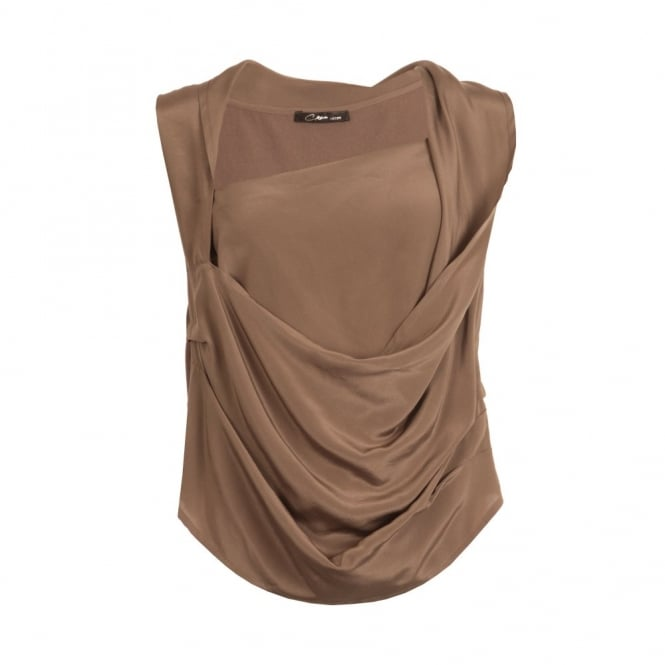 CREA CONCEPT Silk Drape Top in Taupe