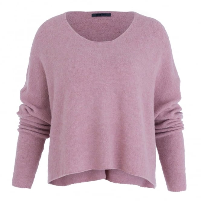 CREA CONCEPT Soft Crop Oversized Jumper In Pink