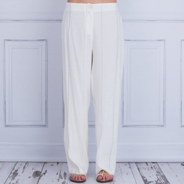 Stripe Linen Trouser In White