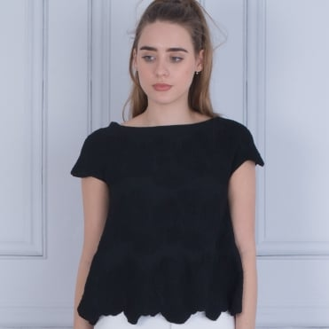 Dexterior Jacquard A Line Scalloped Edge Top Black