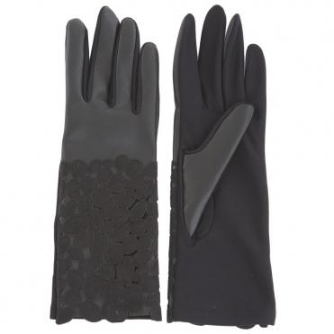 ff9f793d628 Dexterior Oval Print Contrast Gloves in Black