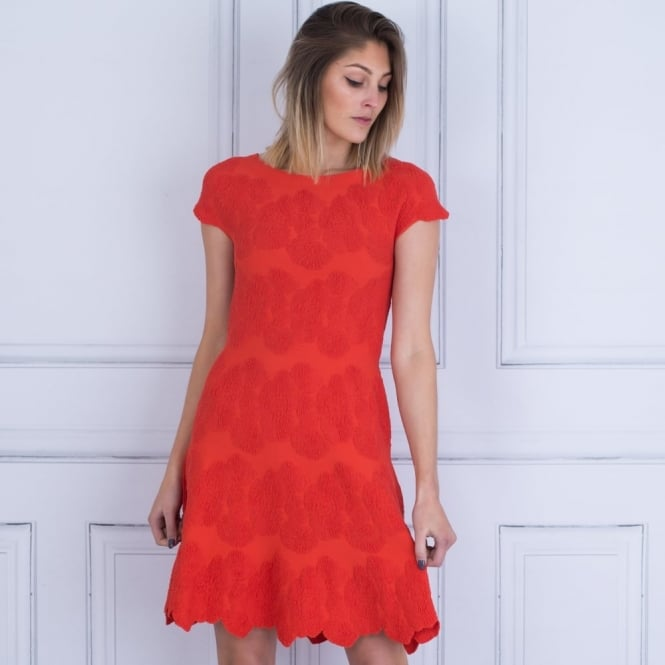 D.EXTERIOR Jacquard A Line Scalloped Edge Dress In Orange
