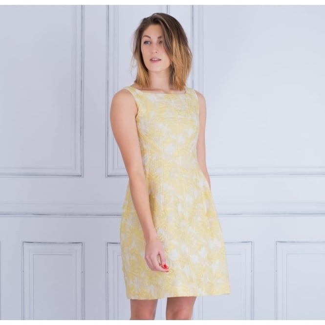 D.EXTERIOR Jacquard Fitted High Neck Dress In Yellow