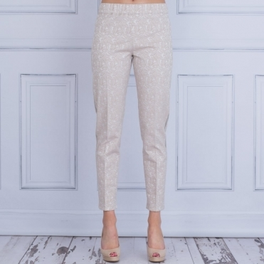 Jacquard Pull On Pant With Metal Side Stripe In Nude