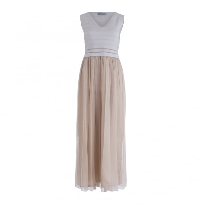 D.EXTERIOR Long Chiffon Dress With Lurex Top In Beige & Gold