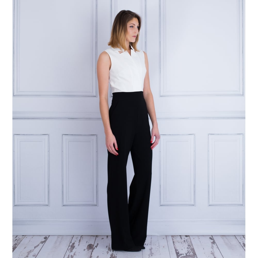 c7d8e6a381f D.exterior 44839 Sleeveless Wide Leg Tailored Jumpsuit In Black   White