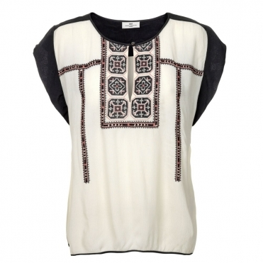 Aztec Cap Sleeve Blouse in Cream