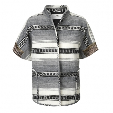 Aztec Stripped Jacket in Grey, Ecru and Black