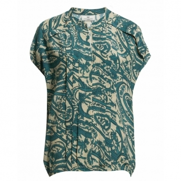 Gesture Elasticated Hem Blouse in Teal & Ecru