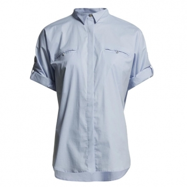Loose Bodied Shirt With Concealed Breast Pocket in Blue