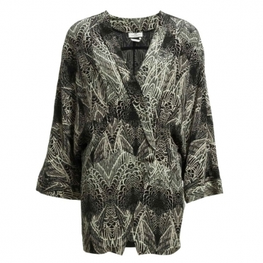 Pinion Feather Print Jacket in Grey
