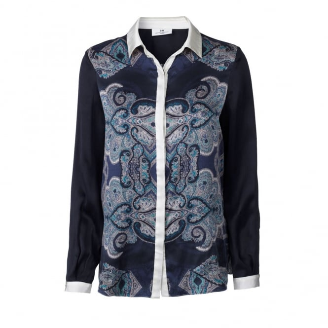 DAY BIRGER ET MIKKELSEN Silk Blouse with Paisley Print in Ink