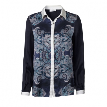 Silk Blouse with Paisley Print in Ink
