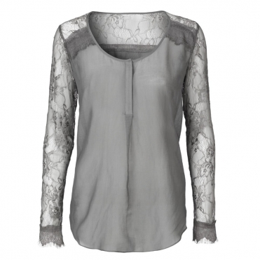 Vidar Fine Cotton Blouse in Grey