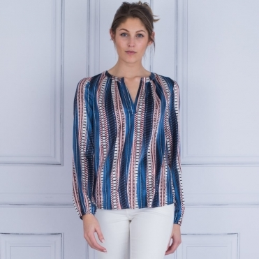 Amalie Boho Stripe Print Silk Blouse In Blue