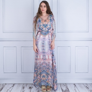 Bo Exclusive V Neck Kaftan Style Maxi In Rose/Blue