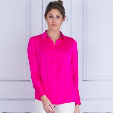 Chelsea Fitted Silk Shirt In Vibrant Pink