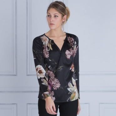 Irene Floral Printed Tunic in Black
