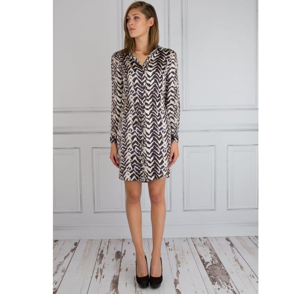 Dea Kudibal Long Sleeve Silk Shirt Dress In Animal Print Navy Beige