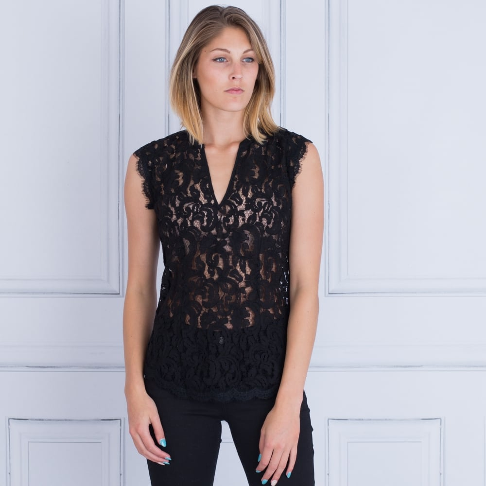 10ca75d9490e99 Dea Kudibal Nadja Sleeveless Sheer Lace Top Black