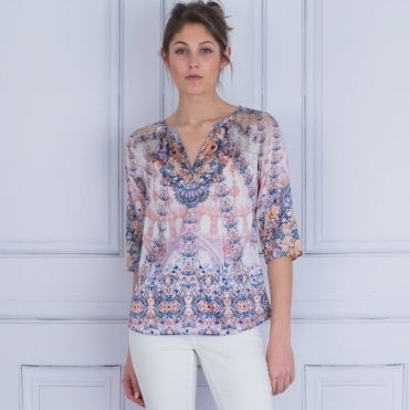Natali Tab Sleeve Antique Print Silk Blouse With Butterfly In Rose & Blue